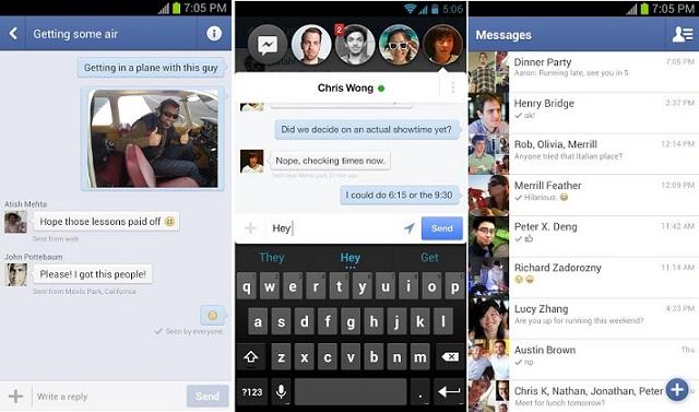 Interfase de Facebook Messenger