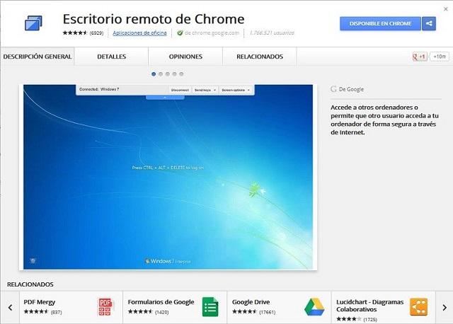 Remote Desktop - extensión web para controlar otra PC desde Chrome