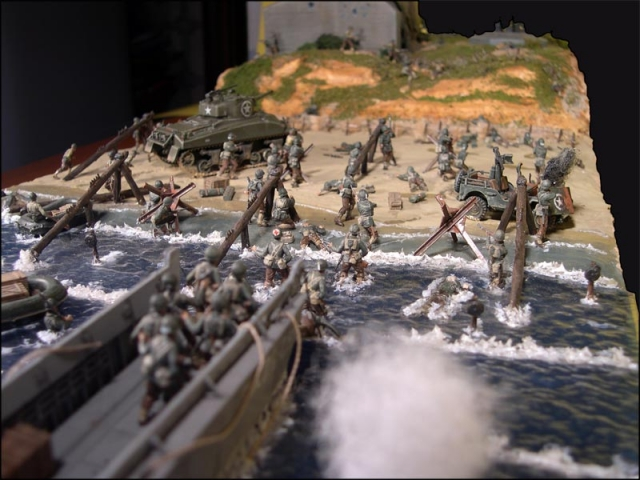 Diorama del desembarco en Normandía, Día D, 2da Guerra Mundial