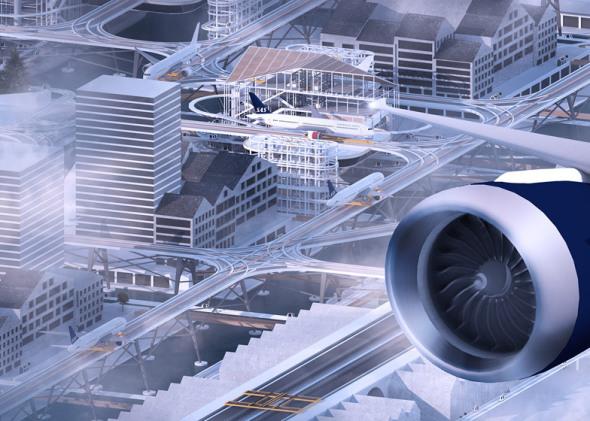 Aeropuerto por encima delas calles de la ciudad