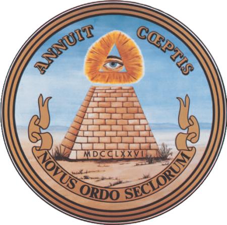 Illuminati 2 - La pirámide truncada con el ojo que todo lo ve y el lema -Novus Ordo Seclorum-, del Gran Sello de los Estados Unidos, considerada como un símbolo Illuminati